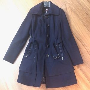 Plum miss sixty winter coat with buttons and belt